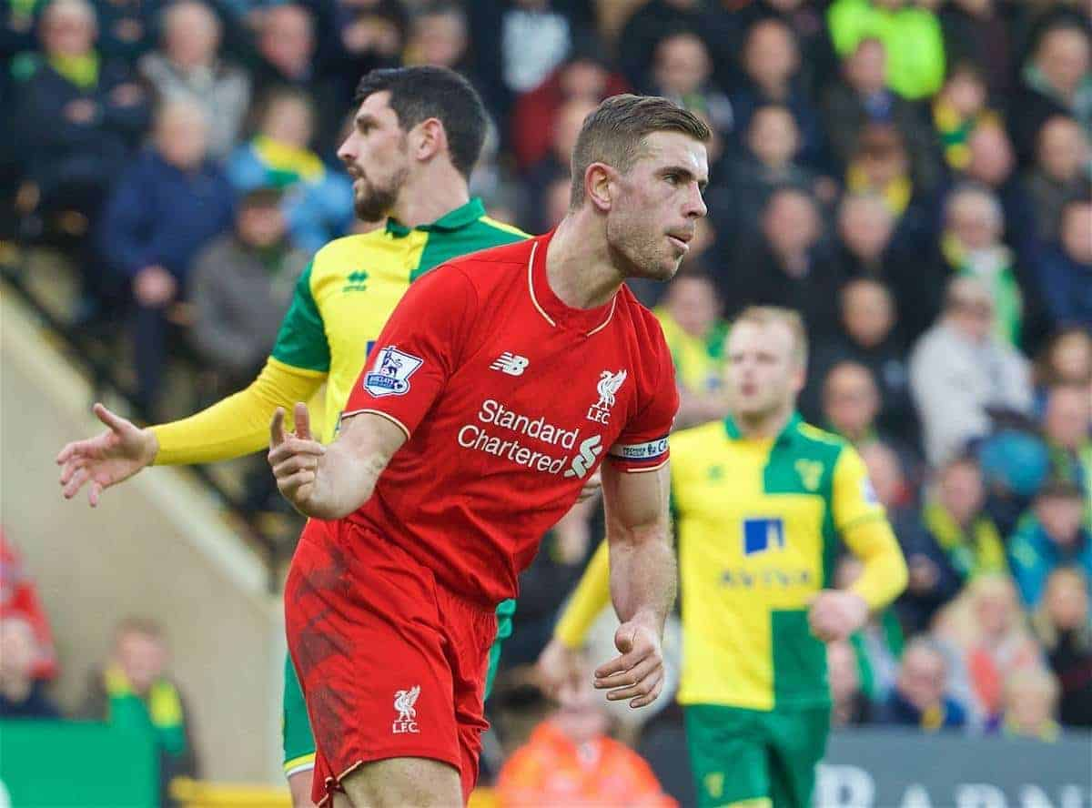 NORWICH, ENGLAND - Friday, January 22, 2016: Liverpool's captain Jordan Henderson celebrates scoring the second goal against Norwich City during the Premiership match at Carrow Road. (Pic by David Rawcliffe/Propaganda)
