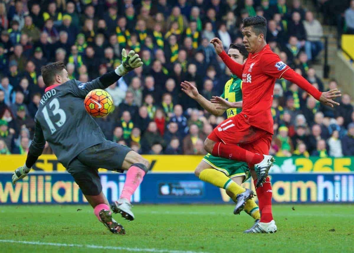 NORWICH, ENGLAND - Friday, January 22, 2016: Liverpool's Roberto Firmino scores the third goal against Norwich City during the Premiership match at Carrow Road. (Pic by David Rawcliffe/Propaganda)