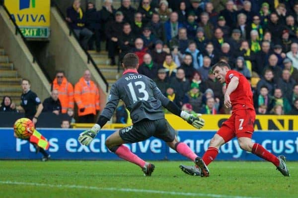 NORWICH, ENGLAND - Friday, January 22, 2016: Liverpool's James Milner scores the fourth goal against Norwich City during the Premiership match at Carrow Road. (Pic by David Rawcliffe/Propaganda)