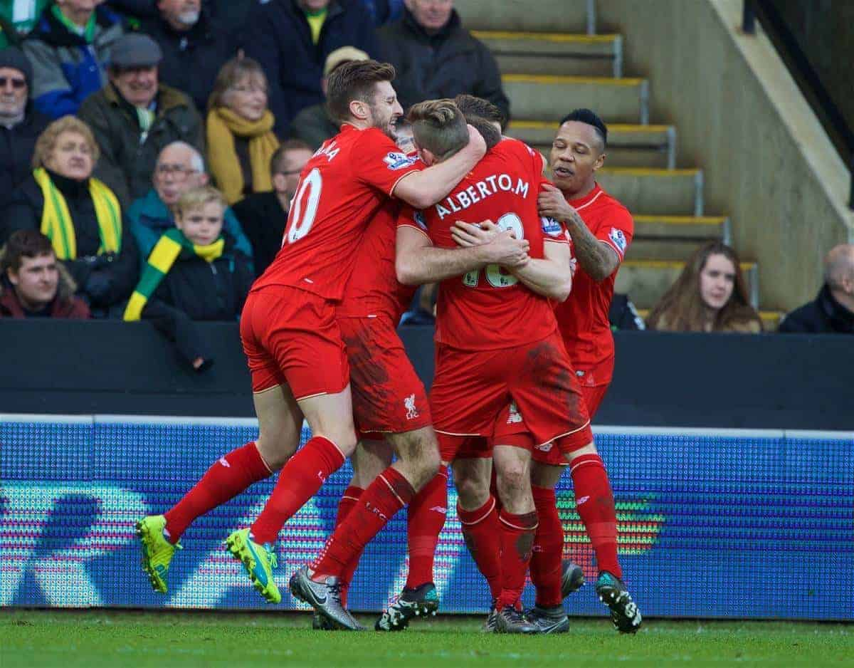 NORWICH, ENGLAND - Friday, January 22, 2016: Liverpool's James Milner celebrates scoring the fourth goal against Norwich City during the Premiership match at Carrow Road. (Pic by David Rawcliffe/Propaganda)