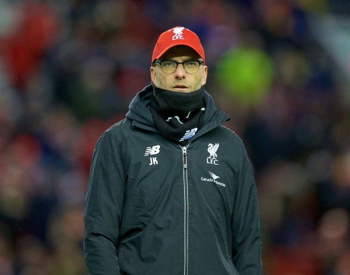 LIVERPOOL, ENGLAND - Saturday, January 30, 2016: Liverpool's manager Jürgen Klopp before the FA Cup 4th Round match against West Ham United at Anfield. (Pic by David Rawcliffe/Propaganda)