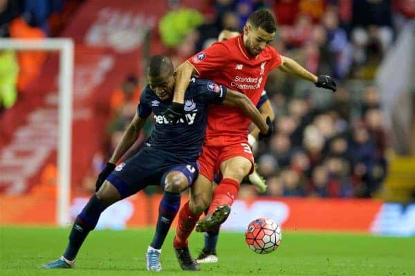 LIVERPOOL, ENGLAND - Saturday, January 30, 2016: Liverpool's Kevin Stewart in action against West Ham United during the FA Cup 4th Round match at Anfield. (Pic by David Rawcliffe/Propaganda)LIVERPOOL, ENGLAND - Saturday, January 30, 2016: Liverpool's Kevin Stewart in action against West Ham United during the FA Cup 4th Round match at Anfield. (Pic by David Rawcliffe/Propaganda)