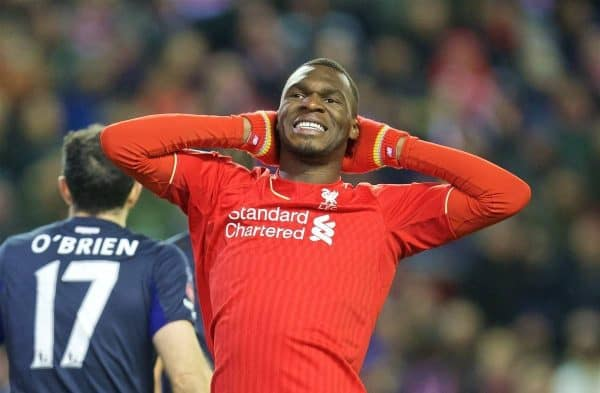 Liverpool's Christian Benteke looks dejected after missing a chance against West Ham United during the FA Cup 4th Round match at Anfield. (Pic by David Rawcliffe/Propaganda)