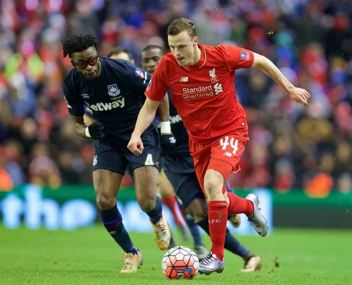 LIVERPOOL, ENGLAND - Saturday, January 30, 2016: Liverpool's Brad Smith in action against West Ham United during the FA Cup 4th Round match at Anfield. (Pic by David Rawcliffe/Propaganda)