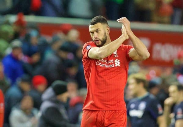 LIVERPOOL, ENGLAND - Saturday, January 30, 2016: Liverpool's Steven Caulker applauds the supporters after a dismal goal-less draw against West Ham United during the FA Cup 4th Round match at Anfield. (Pic by David Rawcliffe/Propaganda)