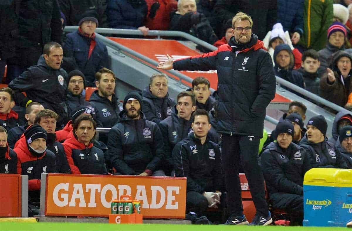 LIVERPOOL, ENGLAND - Saturday, January 30, 2016: Liverpool's angry manager Jürgen Klopp during dismal goal-less draw against West Ham United during the FA Cup 4th Round match at Anfield. (Pic by David Rawcliffe/Propaganda)