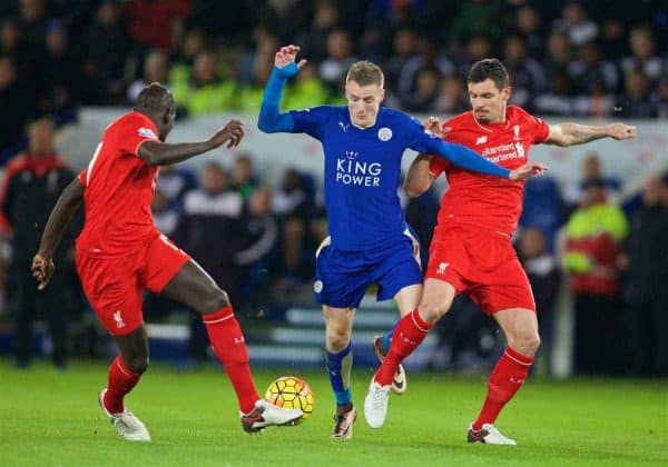 LEICESTER, ENGLAND - Monday, February 1, 2016: Liverpool's Dejan Lovren in action against Leicester City's Jamie Vardy during the Premier League match at Filbert Way. (Pic by David Rawcliffe/Propaganda)