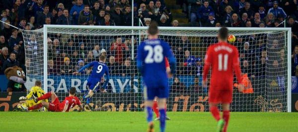 LEICESTER, ENGLAND - Monday, February 1, 2016: Leicester City's Jamie Vardy scores the second goal against Liverpool during the Premier League match at Filbert Way. (Pic by David Rawcliffe/Propaganda)
