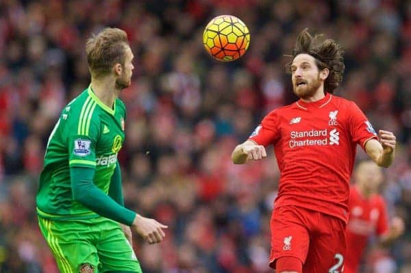 LIVERPOOL, ENGLAND - Saturday, February 6, 2016: Liverpool's Joe Allen in action against Sunderland during the Premier League match at Anfield. (Pic by David Rawcliffe/Propaganda)
