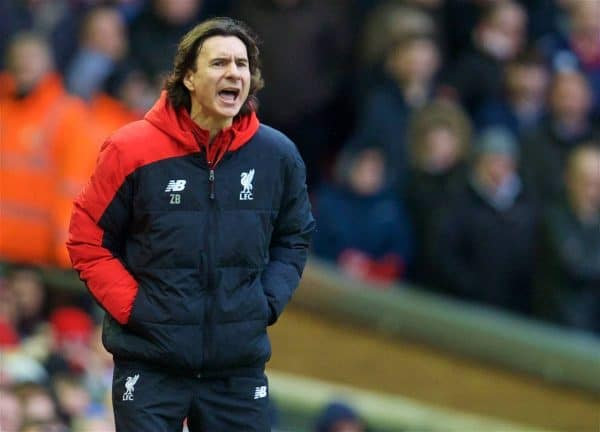 LIVERPOOL, ENGLAND - Saturday, February 6, 2016: Liverpool's assistant manager Zeljko Buvac during the Premier League match against Sunderland at Anfield. (Pic by David Rawcliffe/Propaganda)