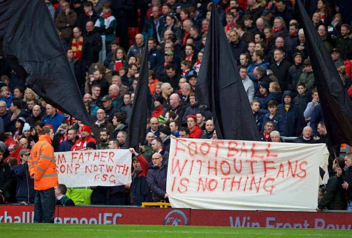 "LIVERPOOL, ENGLAND - Saturday, February 6, 2016: Liverpool supporters protest with black flags and banners ""Football without fans is nothing"" before the Premier League match against Sunderland at Anfield. (Pic by David Rawcliffe/Propaganda)"