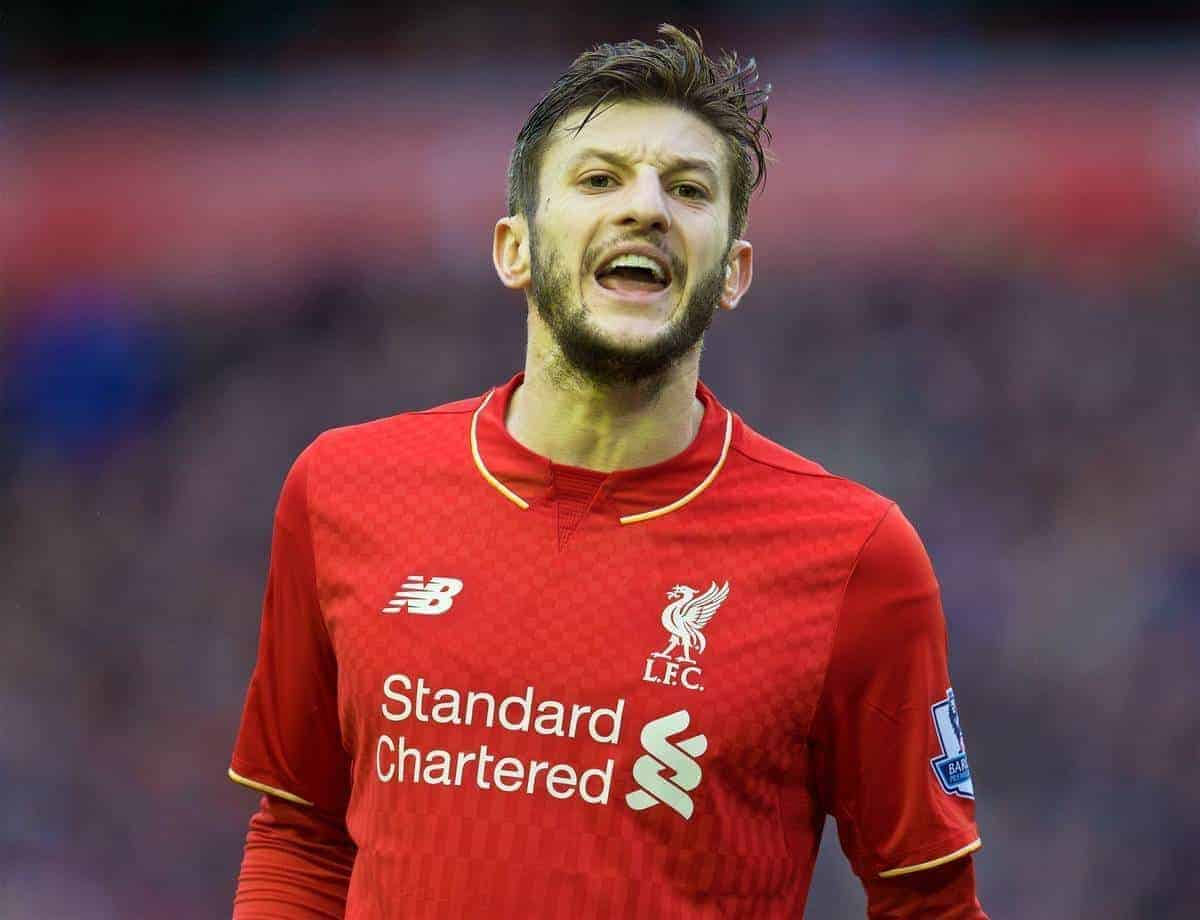 LIVERPOOL, ENGLAND - Saturday, February 6, 2016: Liverpool's Adam Lallana in action against Sunderland during the Premier League match at Anfield. (Pic by David Rawcliffe/Propaganda)