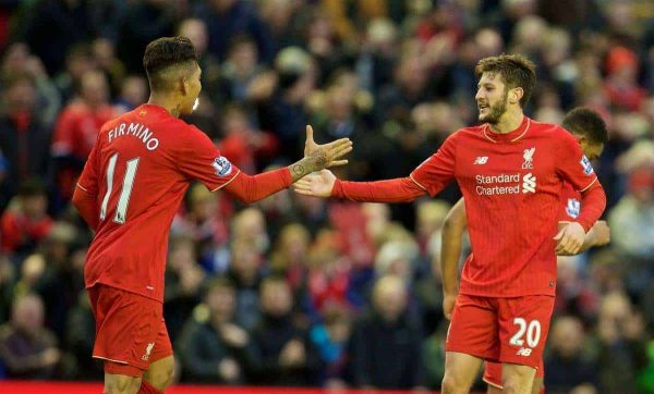 LIVERPOOL, ENGLAND - Saturday, February 6, 2016: Liverpool's Adam Lallana celebrates the second goal against Sunderland with team-mate Roberto Firmino during the Premier League match at Anfield. (Pic by David Rawcliffe/Propaganda)