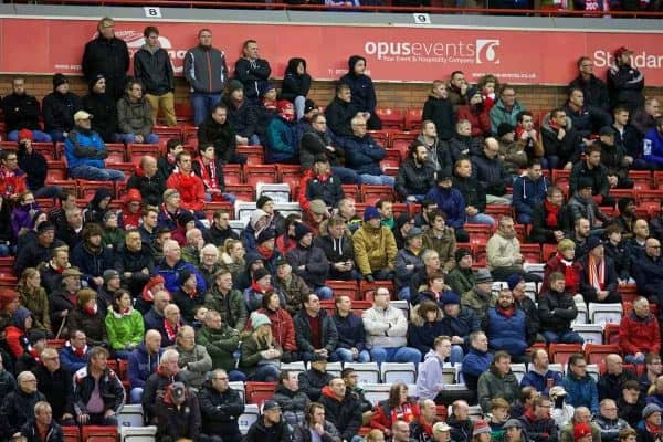 LIVERPOOL, ENGLAND - Saturday, February 6, 2016: Empty seats as Liverpool supporters stage a 77 minute walk-out in protest at ticket price increases and a £77 ticket, during the Premier League match against Sunderland at Anfield. (Pic by David Rawcliffe/Propaganda)