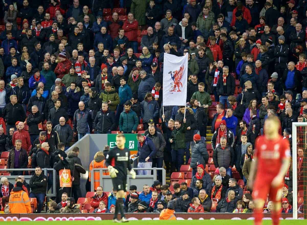 LIVERPOOL, ENGLAND - Saturday, February 6, 2016: Liverpool supporters stage a 77 minute walk-out in protest at ticket price increases and a £77 ticket, during the Premier League match against Sunderland at Anfield. (Pic by David Rawcliffe/Propaganda)