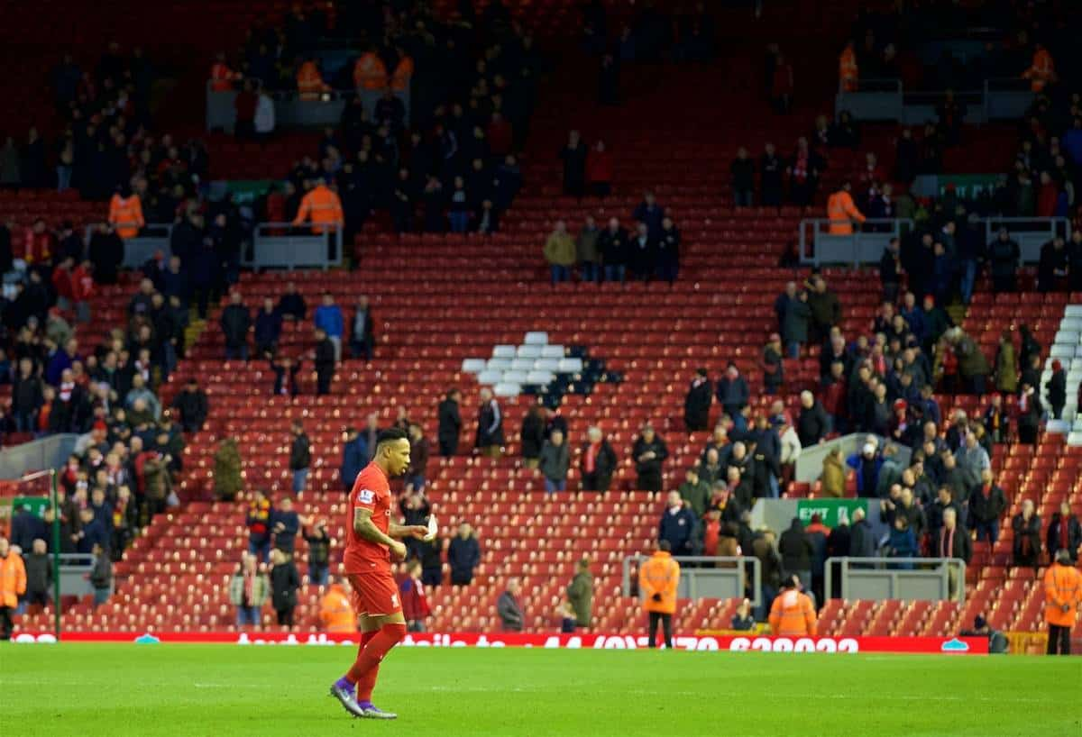 LIVERPOOL, ENGLAND - Saturday, February 6, 2016: Liverpool's Nathaniel Clyne walks off the pitch to an almost empty stadium after supporters staged a 77 minute protest against high ticket prices during the Premier League match against Sunderland at Anfield. (Pic by David Rawcliffe/Propaganda)