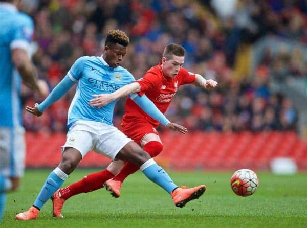 LIVERPOOL, ENGLAND - Sunday, February 7, 2016: Liverpool's Ryan Kent in action against Manchester City's Ashley Smith-Brown during the Under-21 FA Premier League match at Anfield. (Pic by David Rawcliffe/Propaganda)