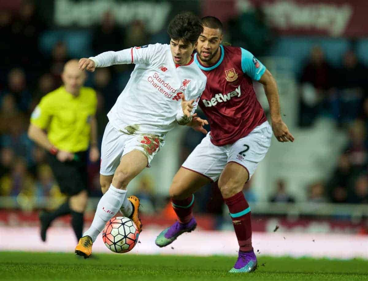 LONDON, ENGLAND - Tuesday, February 9, 2016: Liverpool's Joao Carlos Teixeira in action against West Ham United's Winston Reid during the FA Cup 4th Round Replay match at Upton Park. (Pic by David Rawcliffe/Propaganda)