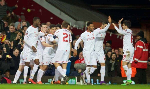 LONDON, ENGLAND - Tuesday, February 9, 2016: Liverpool's Philippe Coutinho Correia celebrates scoring the first goal against West Ham United during the FA Cup 4th Round Replay match at Upton Park. (Pic by David Rawcliffe/Propaganda)