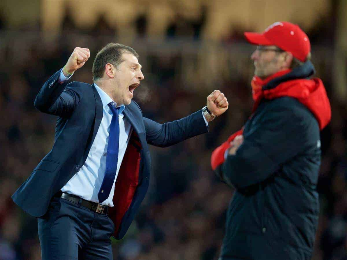 LONDON, ENGLAND - Tuesday, February 9, 2016: West Ham United's manager Slaven Bilic celebrates a late extra-time 2-1 victory over Liverpool as Reds manager Jürgen Klopp looks on dejected during the FA Cup 4th Round Replay match at Upton Park. (Pic by David Rawcliffe/Propaganda)