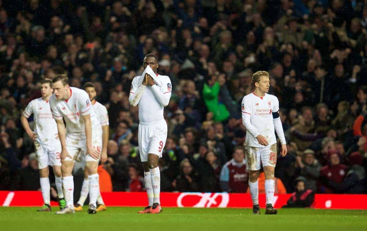 LONDON, ENGLAND - Tuesday, February 9, 2016: Liverpool's Christian Benteke and Lucas Leiva look dejected as West Ham United score a late extra-time winner to seal a 2-1 victory during the FA Cup 4th Round Replay match at Upton Park. (Pic by David Rawcliffe/Propaganda)