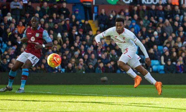 BIRMINGHAM, ENGLAND - Sunday, February 14, 2016: Liverpool's Daniel Sturridge scores the first goal against Aston Villa during the Premier League match at Villa Park. (Pic by David Rawcliffe/Propaganda)