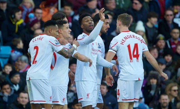 BIRMINGHAM, ENGLAND - Sunday, February 14, 2016: Liverpool's Daniel Sturridge celebrates scoring the first goal against Aston Villa during the Premier League match at Villa Park. (Pic by David Rawcliffe/Propaganda)