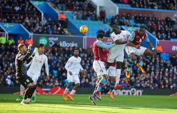 BIRMINGHAM, ENGLAND - Sunday, February 14, 2016: Liverpool's Mamadou Sakho flicks on James Milner free-kick to score the second goal against Aston Villa during the Premier League match at Villa Park. (Pic by David Rawcliffe/Propaganda)