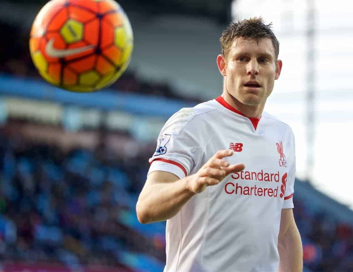 BIRMINGHAM, ENGLAND - Sunday, February 14, 2016: Liverpool's James Milner in action against Aston Villa during the Premier League match at Villa Park. (Pic by David Rawcliffe/Propaganda)