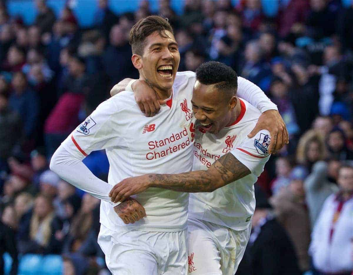 BIRMINGHAM, ENGLAND - Sunday, February 14, 2016: Liverpool's Nathaniel Clyne celebrates scoring the fifth goal against Aston Villa with team-mate Roberto Firmino during the Premier League match at Villa Park. (Pic by David Rawcliffe/Propaganda)