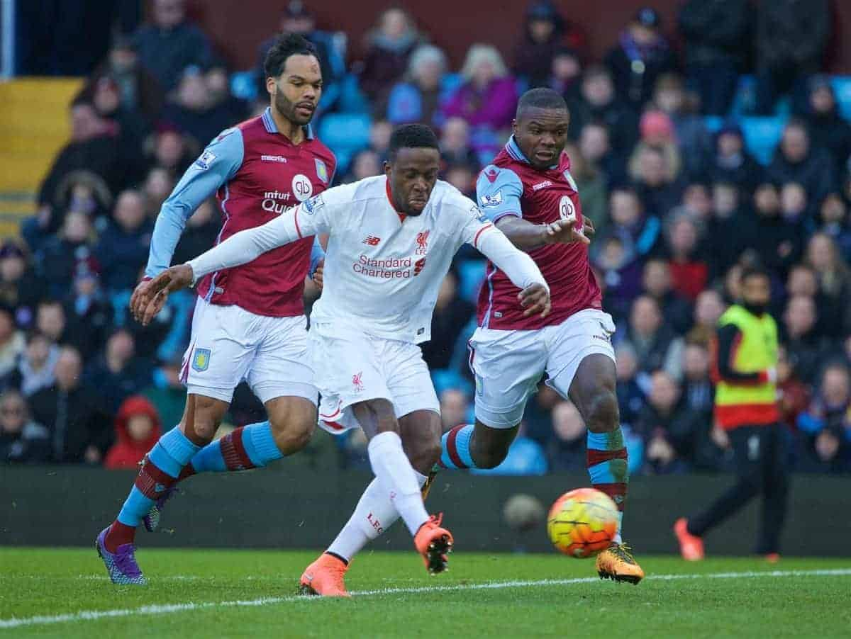 BIRMINGHAM, ENGLAND - Sunday, February 14, 2016: Liverpool's Divock Origi scores the fourth goal against Aston Villa during the Premier League match at Villa Park. (Pic by David Rawcliffe/Propaganda)
