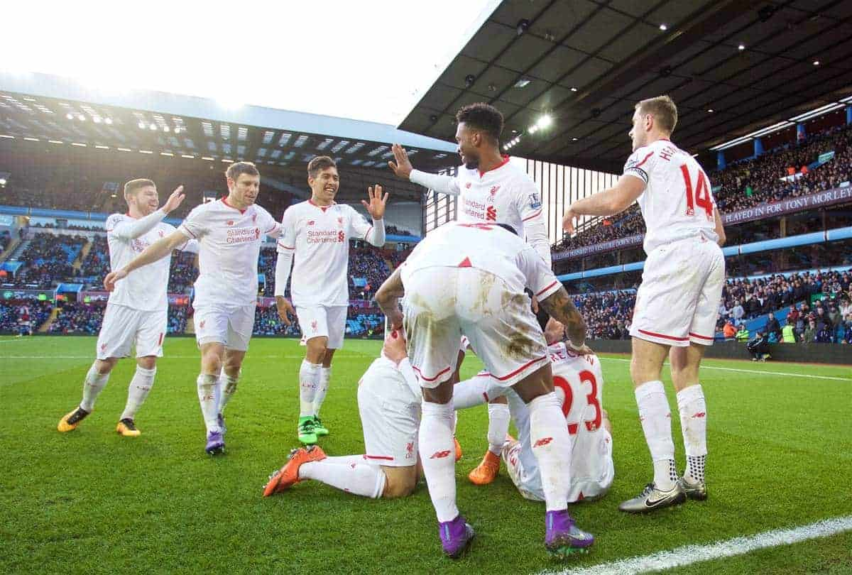 BIRMINGHAM, ENGLAND - Sunday, February 14, 2016: Liverpool's Emre Can celebrates scoring the third goal against Aston Villa with team-mates during the Premier League match at Villa Park. (Pic by David Rawcliffe/Propaganda)