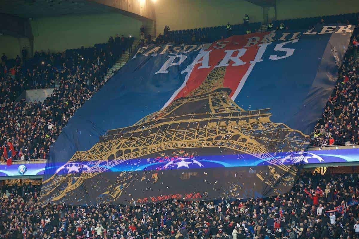 PARIS, FRANCE - Tuesday, February 16, 2016: Paris Saint-Germain supporters unfurl a banner of the Eiffel Tower before the UEFA Champions League Round of 16 1st Leg match against Chelsea at Parc des Princes. (Pic by David Rawcliffe/Propaganda)