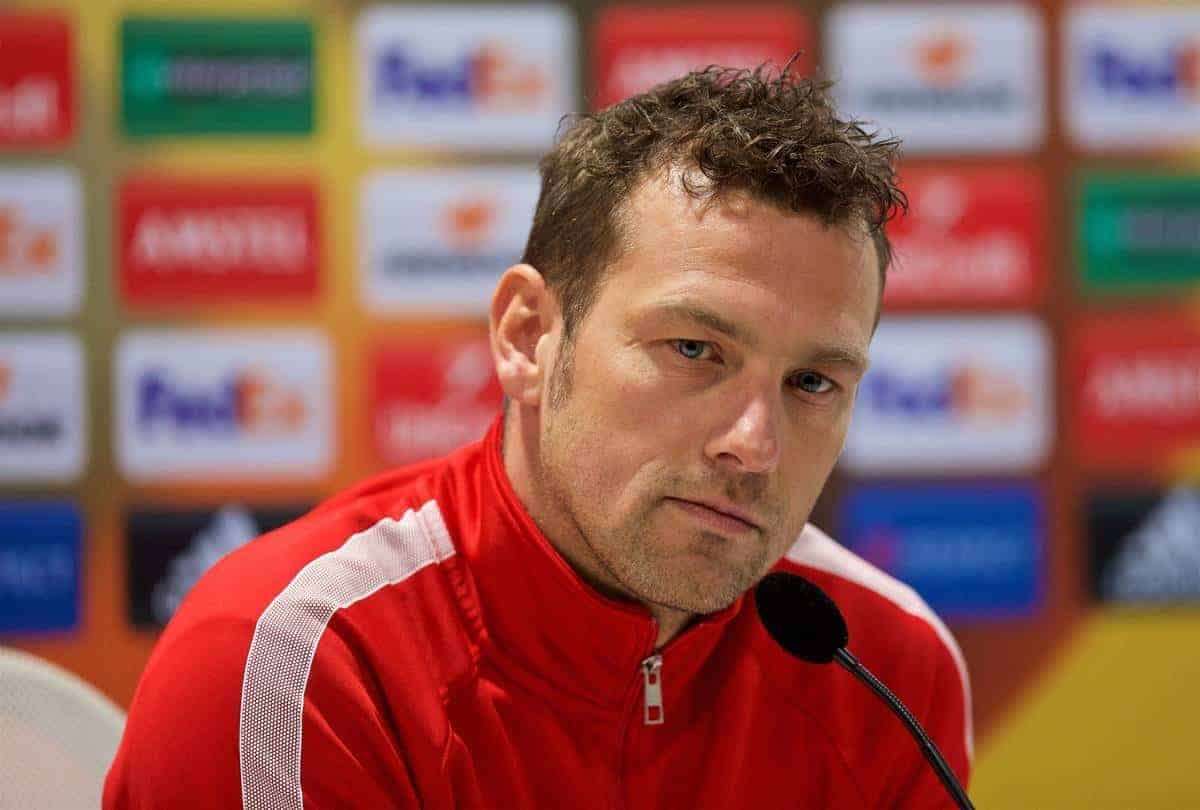 AUGSBURG, GERMANY - Wednesday, February 17, 2016: FC Augsburg's head coach Markus Weinzierl during a press conference ahead of the UEFA Europa League Round of 32 1st Leg match against Liverpool at the Augsburg Arena. (Pic by David Rawcliffe/Propaganda)