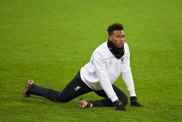 AUGSBURG, GERMANY - Wednesday, February 17, 2016: Liverpool's Daniel Sturridge stretches during a training session ahead of the UEFA Europa League Round of 32 1st Leg match against FC Augsburg at the Augsburg Arena. (Pic by David Rawcliffe/Propaganda)