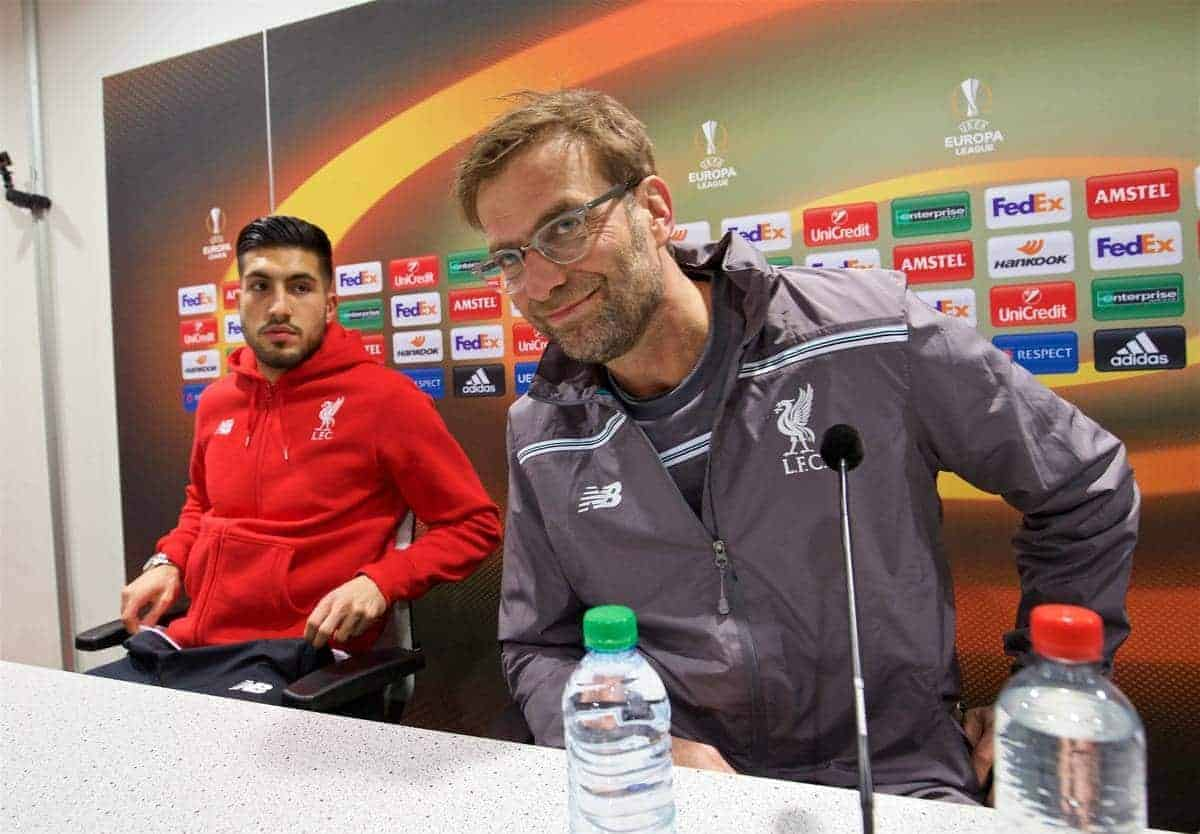 AUGSBURG, GERMANY - Wednesday, February 17, 2016: Liverpool's manager Jürgen Klopp and Emre Can during a press conference ahead of the UEFA Europa League Round of 32 1st Leg match against FC Augsburg at the Augsburg Arena. (Pic by David Rawcliffe/Propaganda)