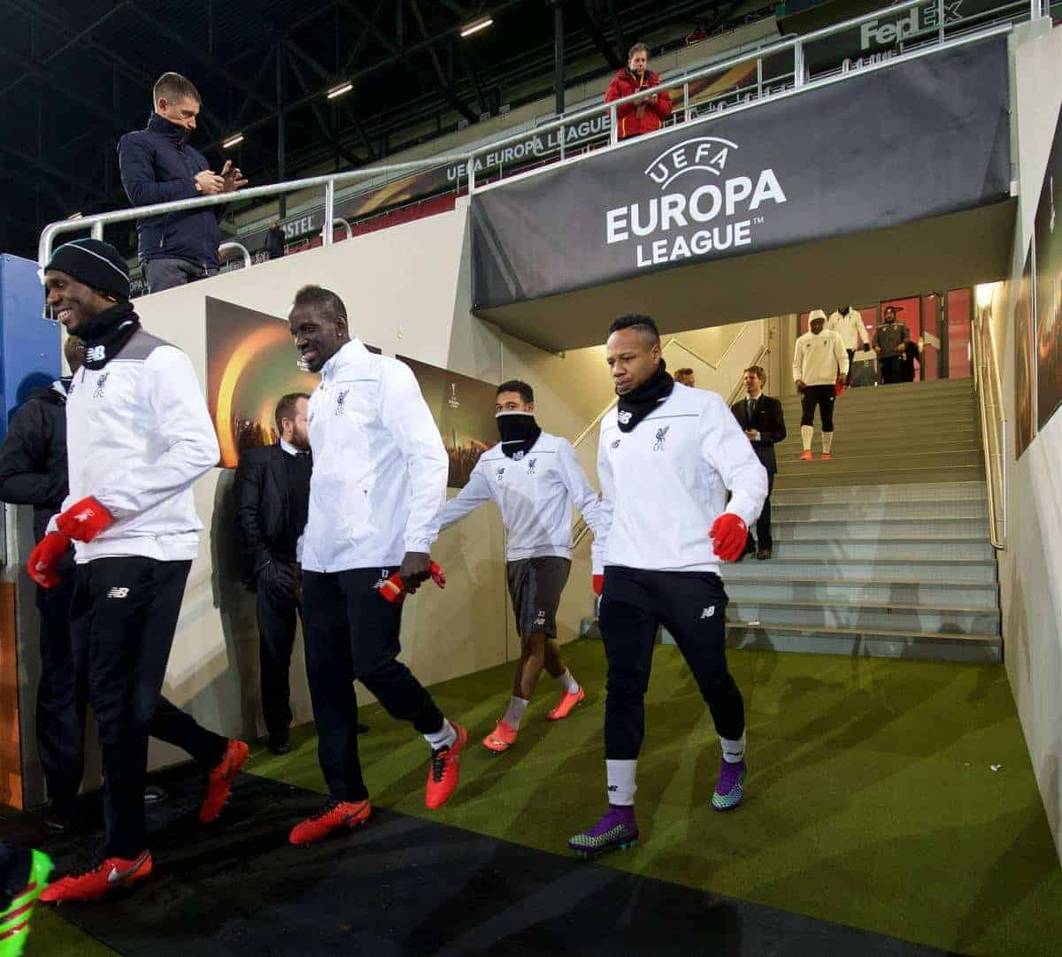AUGSBURG, GERMANY - Wednesday, February 17, 2016: Liverpool's Christian Benteke, Mamadou Sakho, Philippe Coutinho Correia and Nathaniel Clyne walk out for a training session ahead of the UEFA Europa League Round of 32 1st Leg match against FC Augsburg at the Augsburg Arena. (Pic by David Rawcliffe/Propaganda)