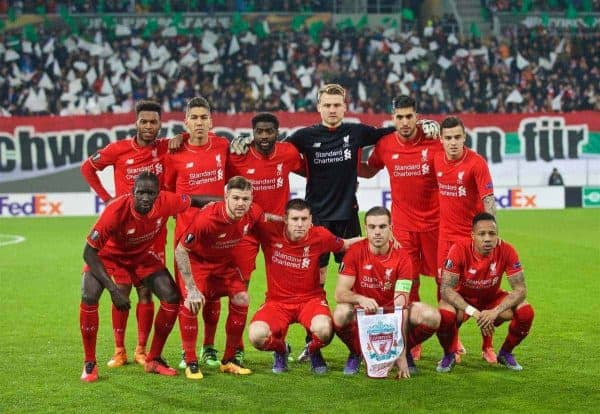 AUGSBURG, GERMANY - Thursday, February 18, 2016: Liverpool's players line up for a team group photograph before the UEFA Europa League Round of 32 1st Leg match against FC Augsburg at the Augsburg Arena. (Pic by David Rawcliffe/Propaganda)