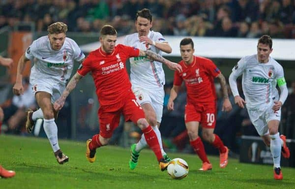 AUGSBURG, GERMANY - Thursday, February 18, 2016: Liverpool's Alberto Moreno in action against FC Augsburg during the UEFA Europa League Round of 32 1st Leg match at the Augsburg Arena. (Pic by David Rawcliffe/Propaganda)