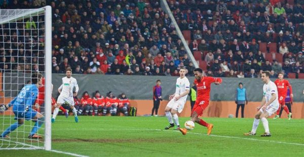 AUGSBURG, GERMANY - Thursday, February 18, 2016: Liverpool's Daniel Sturridge misses a chance against FC Augsburg during the UEFA Europa League Round of 32 1st Leg match at the Augsburg Arena. (Pic by David Rawcliffe/Propaganda)