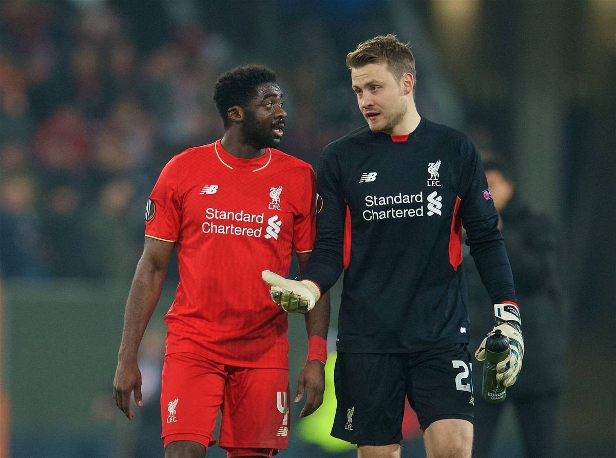 AUGSBURG, GERMANY - Thursday, February 18, 2016: Liverpool's Kolo Toure and goalkeeper Simon Mignolet after the goal-less draw against FC Augsburg during the UEFA Europa League Round of 32 1st Leg match at the Augsburg Arena. (Pic by David Rawcliffe/Propaganda)