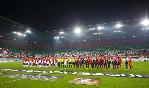 AUGSBURG, GERMANY - Thursday, February 18, 2016: Liverpool and FC Augsburg players before the UEFA Europa League Round of 32 1st Leg match at the Augsburg Arena. (Pic by David Rawcliffe/Propaganda)