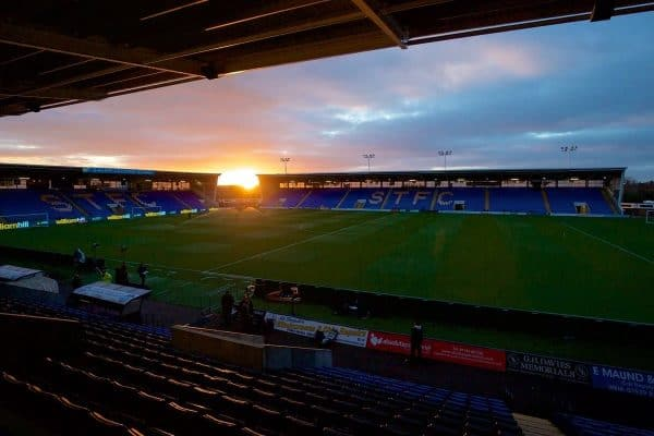 Sunset over Shrewsbury Town's New Meadow before the FA Cup 5th Round match against Manchester United at The New Meadow. (Pic by David Rawcliffe/Propaganda)