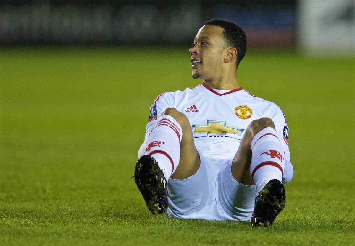 SHREWSBURY, ENGLAND - Monday, February 22, 2016: Manchester United's Memphis Depay looks dejected after missing a chance against Shrewsbury Town during the FA Cup 5th Round match at The New Meadow. (Pic by David Rawcliffe/Propaganda)