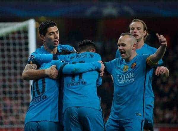 LONDON, ENGLAND - Tuesday, February 23, 2016: Barcelona's Lionel Messi celebrates scoring the first goal against Arsenal with team-mate Luis Suárez, Neymar, Andrés Iniesta during the UEFA Champions League Round of 16 1st Leg match at the Emirates Stadium. (Pic by Kirsten Holst/Propaganda)