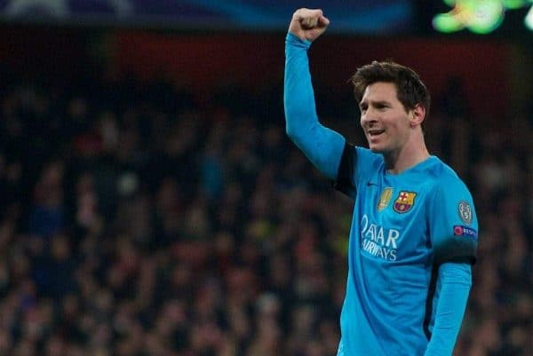 Barcelona's Lionel Messi celebrates scoring the first goal against Arsenal during the UEFA Champions League Round of 16 1st Leg match at the Emirates Stadium. (Pic by Kirsten Holst/Propaganda)