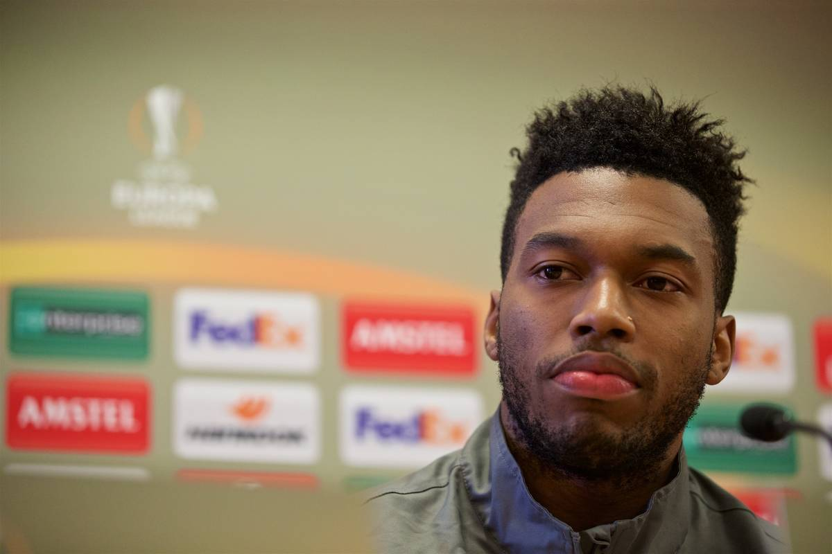 LIVERPOOL, ENGLAND - Wednesday, February 24, 2016: Liverpool's Daniel Sturridge during a press conference ahead of the UEFA Europa League Round of 32 1st Leg match against FC Augsburg. (Pic by David Rawcliffe/Propaganda)