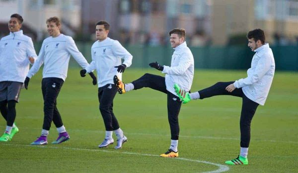 LIVERPOOL, ENGLAND - Wednesday, February 24, 2016: Liverpool's Lucas Leiva, Philippe Coutinho Correia, Alberto Moreno and Pedro Chirivella during a training session ahead of the UEFA Europa League Round of 32 1st Leg match against FC Augsburg. (Pic by David Rawcliffe/Propaganda)