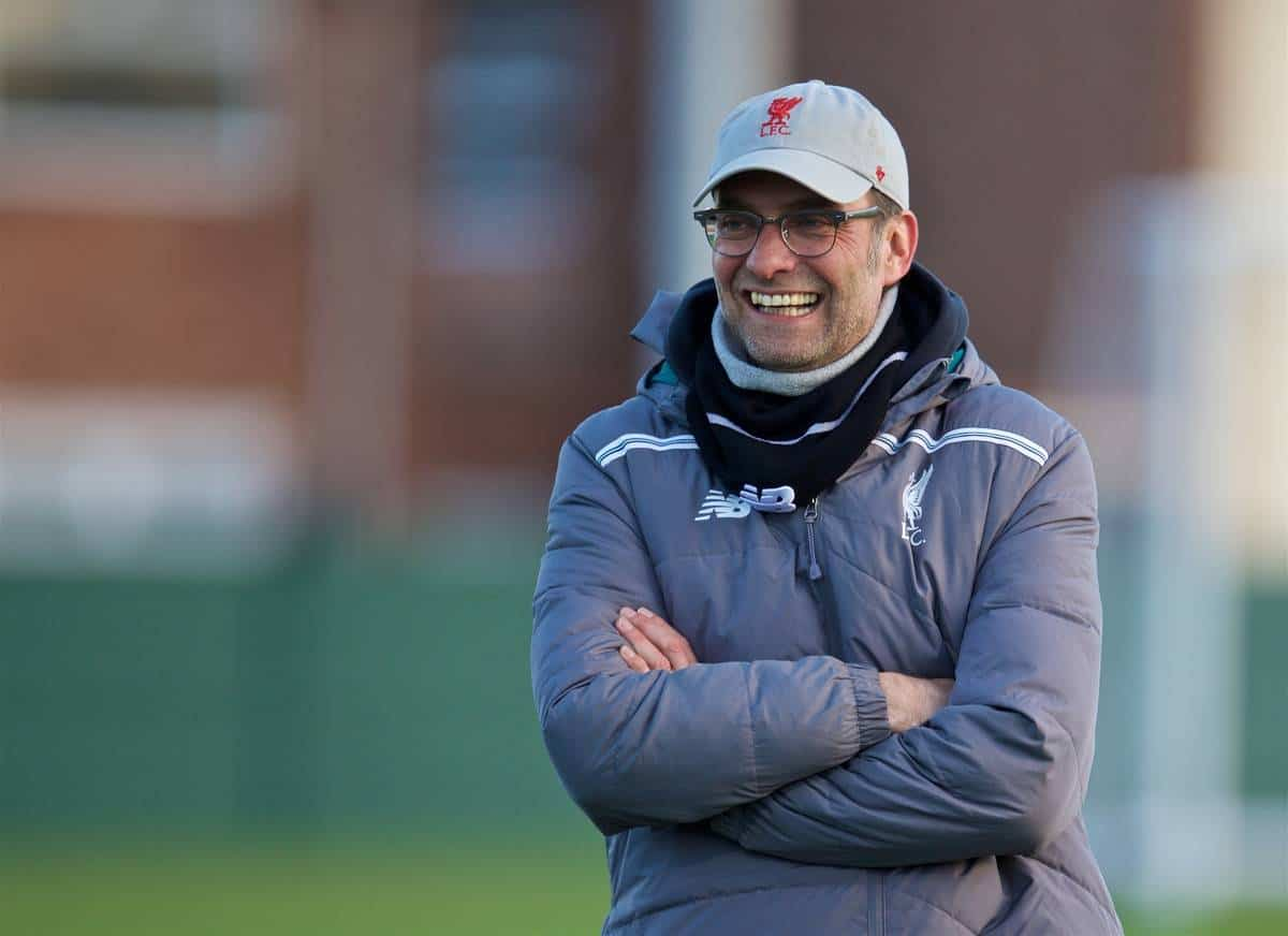 LIVERPOOL, ENGLAND - Wednesday, February 24, 2016: Liverpool's manager Jürgen Klopp during a training session ahead of the UEFA Europa League Round of 32 1st Leg match against FC Augsburg. (Pic by David Rawcliffe/Propaganda)