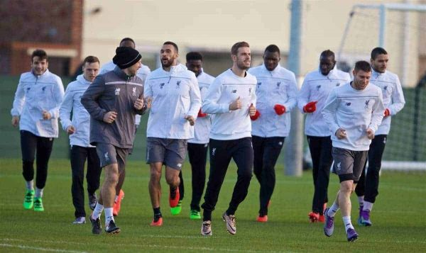 LIVERPOOL, ENGLAND - Wednesday, February 24, 2016: Liverpool's captain Jordan Henderson during a training session ahead of the UEFA Europa League Round of 32 1st Leg match against FC Augsburg. (Pic by David Rawcliffe/Propaganda)